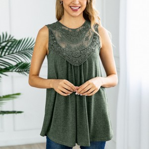Lace Floral Texture Ruffled Sleeveless Blouse Top - Green