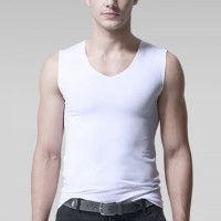 Sleeveless Bodyfitted Solid Color Summer Wear Men Sando Top - White