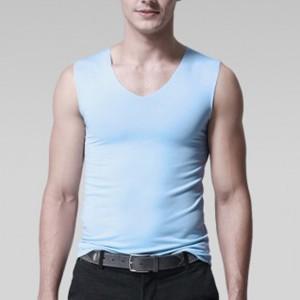 Sleeveless Bodyfitted Solid Color Summer Wear Men Sando Top - Light Blue