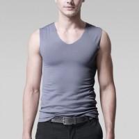 Sleeveless Bodyfitted Solid Color Summer Wear Men Sando Top - Gray