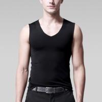 Sleeveless Bodyfitted Solid Color Summer Wear Men Sando Top - Black