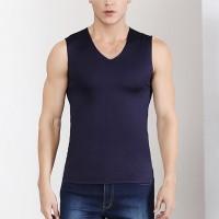 Sleeveless Bodyfitted Solid Color Summer Wear Men Sando Top - Dark Blue