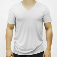 Sports Wear Stretchable Body Fitted Gym Exercise Men T-Shirt Top - White