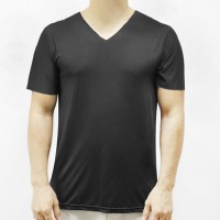 Sports Wear Stretchable Body Fitted Gym Exercise Men T-Shirt Top - Black