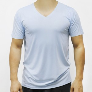 Sports Wear Stretchable Body Fitted Gym Exercise Men T-Shirt Top - Light Blue
