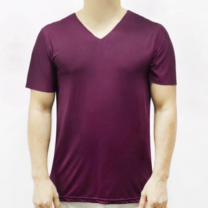 Sports Wear Stretchable Body Fitted Gym Exercise Men T-Shirt Top - Wine Red