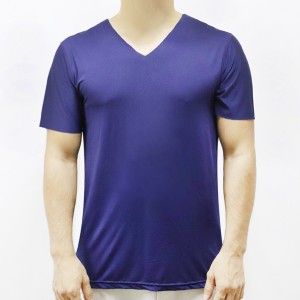 Sports Wear Stretchable Body Fitted Gym Exercise Men T-Shirt Top - Navy Color