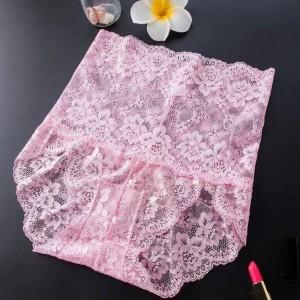 Floral Texture High Waist Slim Fit High Waist Underwear - Pink