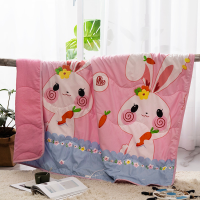 Cartoon Printed Kids Comfortable Fabric Quilt - Pink