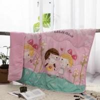 Cartoon Printed Kids Comfortable Fabric Quilt - Light Pink