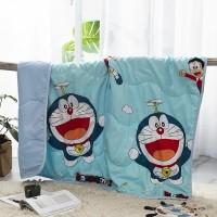 Cartoon Printed Kids Comfortable Fabric Quilt - Sky Blue