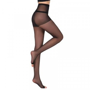 See Through Stretchable Body Fitted Body Stockings - Black
