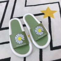 Floral Print Open Toe Casual Wear Home Slippers - Green
