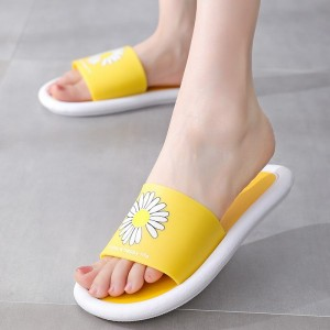 Floral Print Open Toe Casual Wear Home Slippers - Yellow