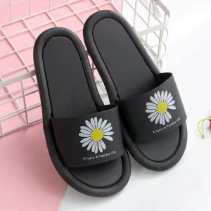 Floral Print Open Toe Casual Wear Home Slippers - Black