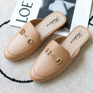 Mule Style Pointed Toe Synthetic Leather Slip Over Slippers - Coffee