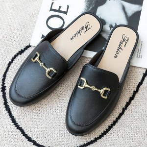 Mule Style Pointed Toe Synthetic Leather Slip Over Slippers - Black