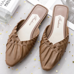 Pointed Frilled Style Slip Over Mule Style Casual Slippers - Brown