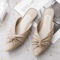Pointed Twist Style Slip Over Mule Style Casual Slippers - Khaki