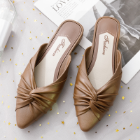 Pointed Twist Style Slip Over Mule Style Casual Slippers - Brown