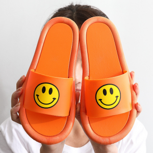 Smiley Printed Slip Over Casual Home Wear Slippers - Orange