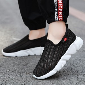 Slip Over Sports Wear Hollow Breathable Flat Shoes - Black