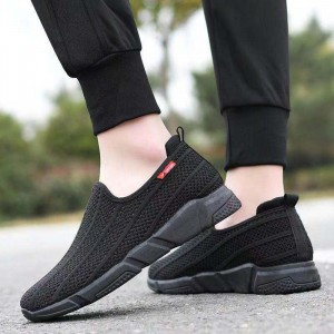 Mesh Breathable Soft Sole Slip Over Flat Sneakers - Black