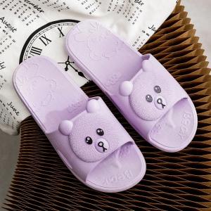 Cute Bear Fine Quality Plastic Casual Home Wear Slippers - Purple
