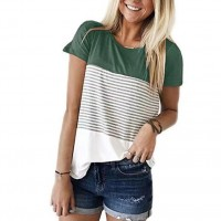 Contrast Stripes Printed Summer Wear Top - Green