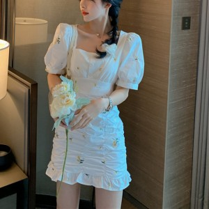 Latest Pure Cute Short Sleeve Girls Dress - White