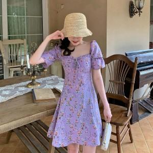 Beautiful High Waist Floral Printed Girls Dress - Purple