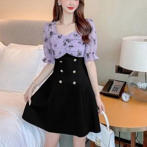 New Flocking Floral Printed Girls Dress - Black Purple