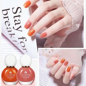 2 Pcs Set Quick Drying Waterproof Women Nails Polish 15+36 - Orange Pink