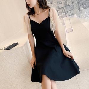 V Neck Mesh Splice Hepburn Girls Dress - Black