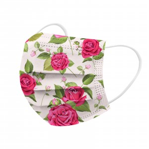 Floral Style Health Care Antibacterial 10 PCs Fancy Face Mask - Solid Pink