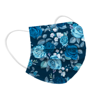Floral Style Health Care Antibacterial 10 PCs Fancy Face Mask - Comic Blue