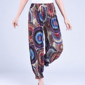 Bohemian Printed Narrow Bottom Elastic Waist Trouser - Blue Purple