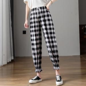 Geometric Printed Narrow Bottom Elastic Waist Trouser - White Black