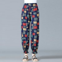 Printed Narrow Bottom Elastic Waist Trouser - Multicolors