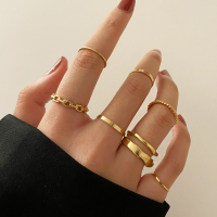 Gold Plated Seven Pieces Women Fashion Rings Set