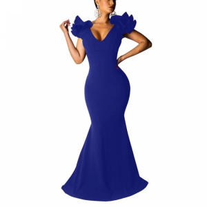 Solid Color V Neck Sleeveless Long Women Ruffle Dress - Blue