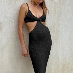 Strap Shoulder Body Fitted Sexy Party Wear Backless Dress