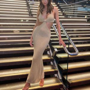 Backless Cutout Elegant Bodycon Full Length Dress - Khaki