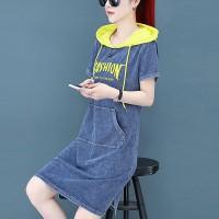Hoodie Neck Denim Style Printed Mini Dress - Blue
