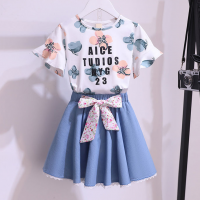 Floral Print Cute Girls Wear Two Piece Matching Sets - Blue