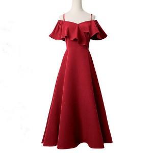 Strap Shoulder Full Length Party Wear Elegant Women Dress - Red