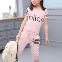 Alphabetic Print Round Neck Two Piece Suit - Pink