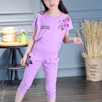 Floral Print Round Neck Short Sleeves Two Pieces Suit - Purple