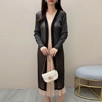 Thin Fabric Long Sleeves Outwear Long Cardigan - Black
