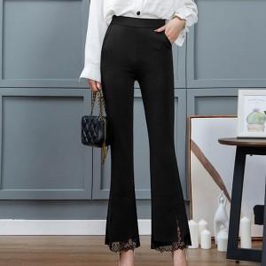 Lace Split Bell Bottom Fitted Casual Wear Trouser - Black